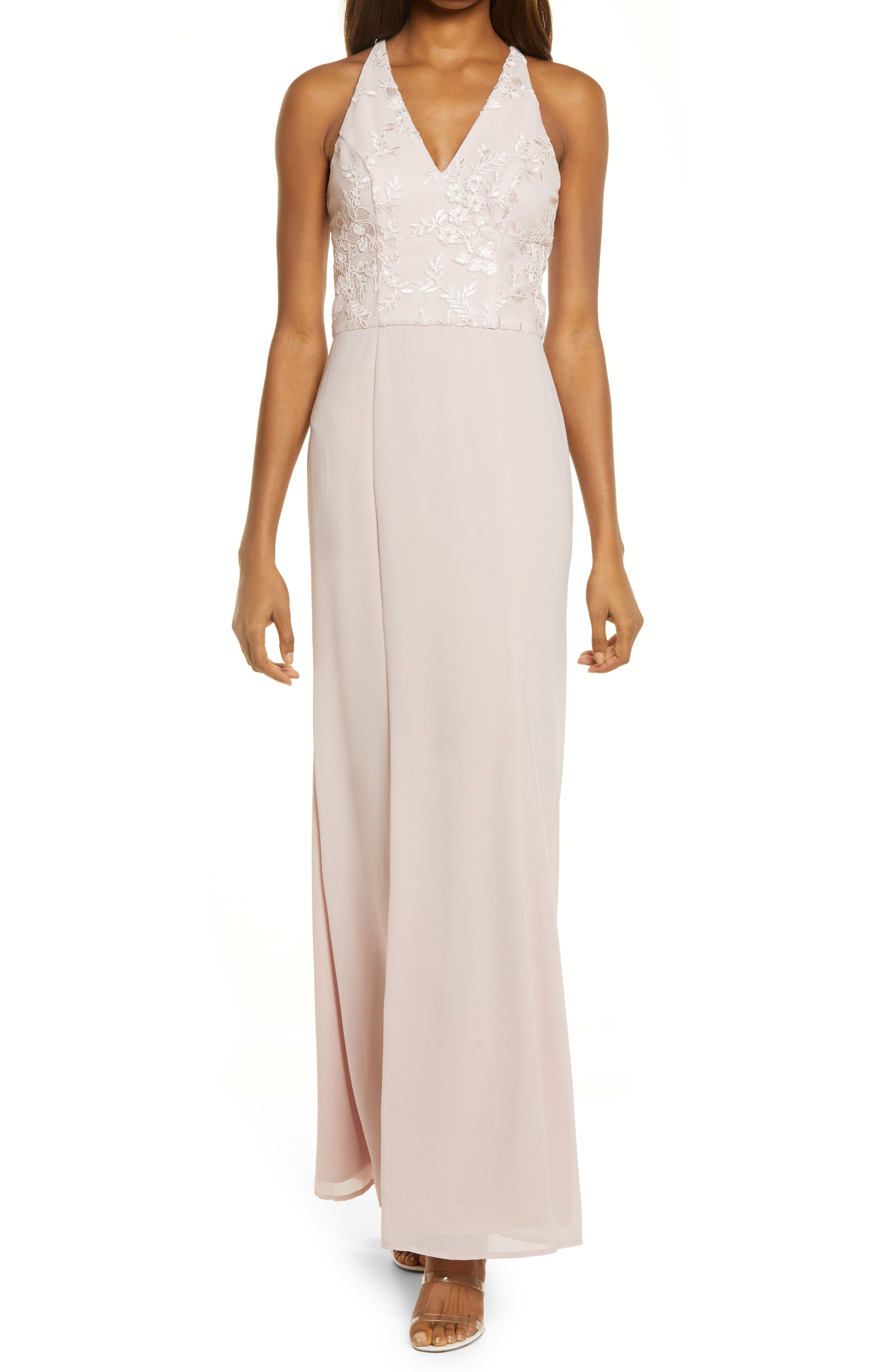 Sleeveless Lace Bridesmaid Dress