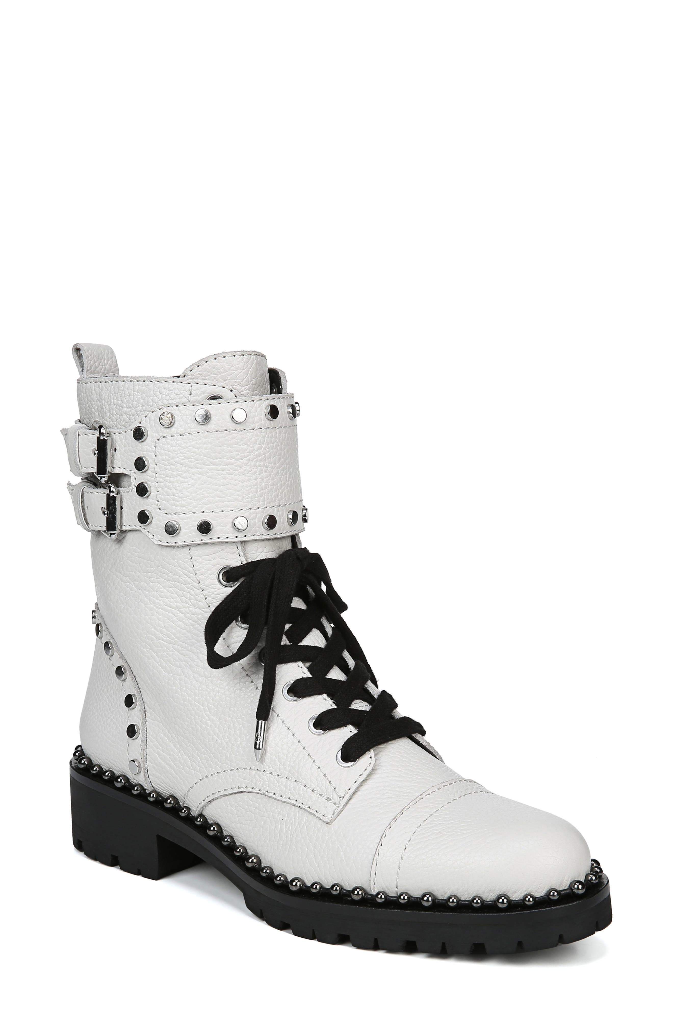 Sam Edelman Jennifer Studded Combat Boot, White