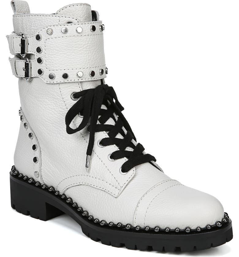 SAM EDELMAN Jennifer Studded Combat Boot, Main, color, WHITE LEATHER