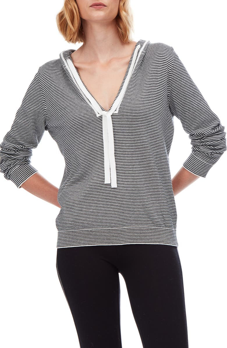 THE WHITE COMPANY Stripe Cotton & Cashmere Hoodie, Main, color, DARK CHARCOAL MARL/ PORCELAIN