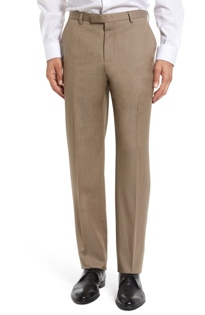 BOSS Leenon Flat Front Straight Leg Solid Wool Dress Pants, Main, color, LIGHT/ PASTEL BROWN