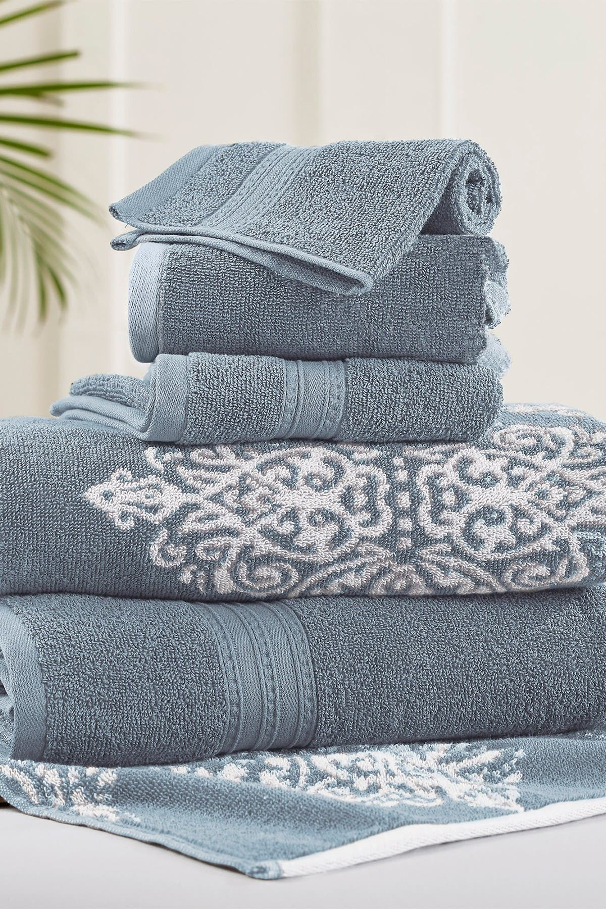 Image of Modern Threads Sterling Blue Artesia Damask Reversible Yarn-Dyed Jacquard 6-Piece Towel Set
