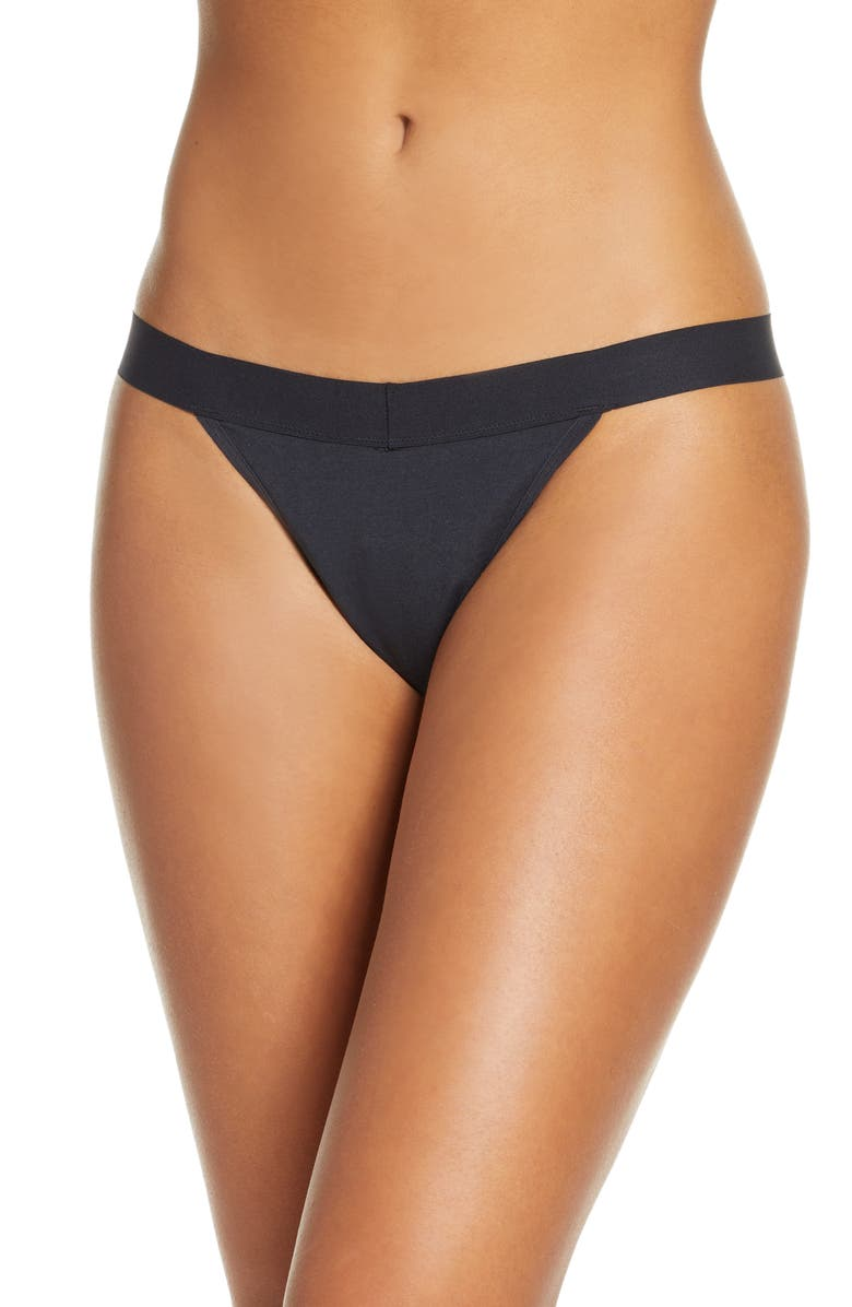 THINX Period Proof Cotton Thong, Main, color, BLACK