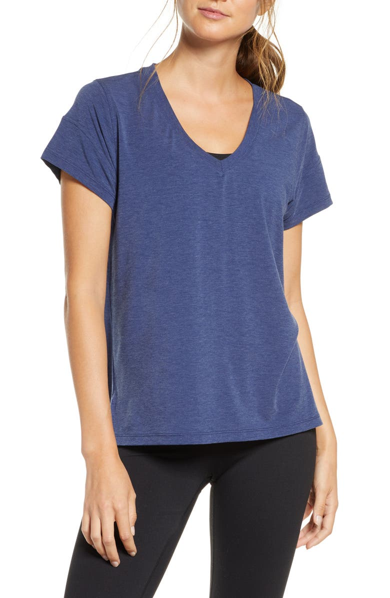ZELLA Ava Quick-Dry Tee, Main, color, NAVY MEDIEVAL