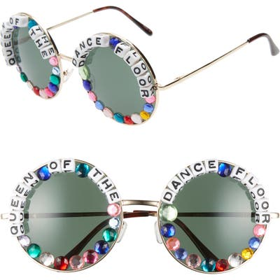 Rad + Refined Queen Of The Dance Floor Round Sunglasses - Gold/ Pink