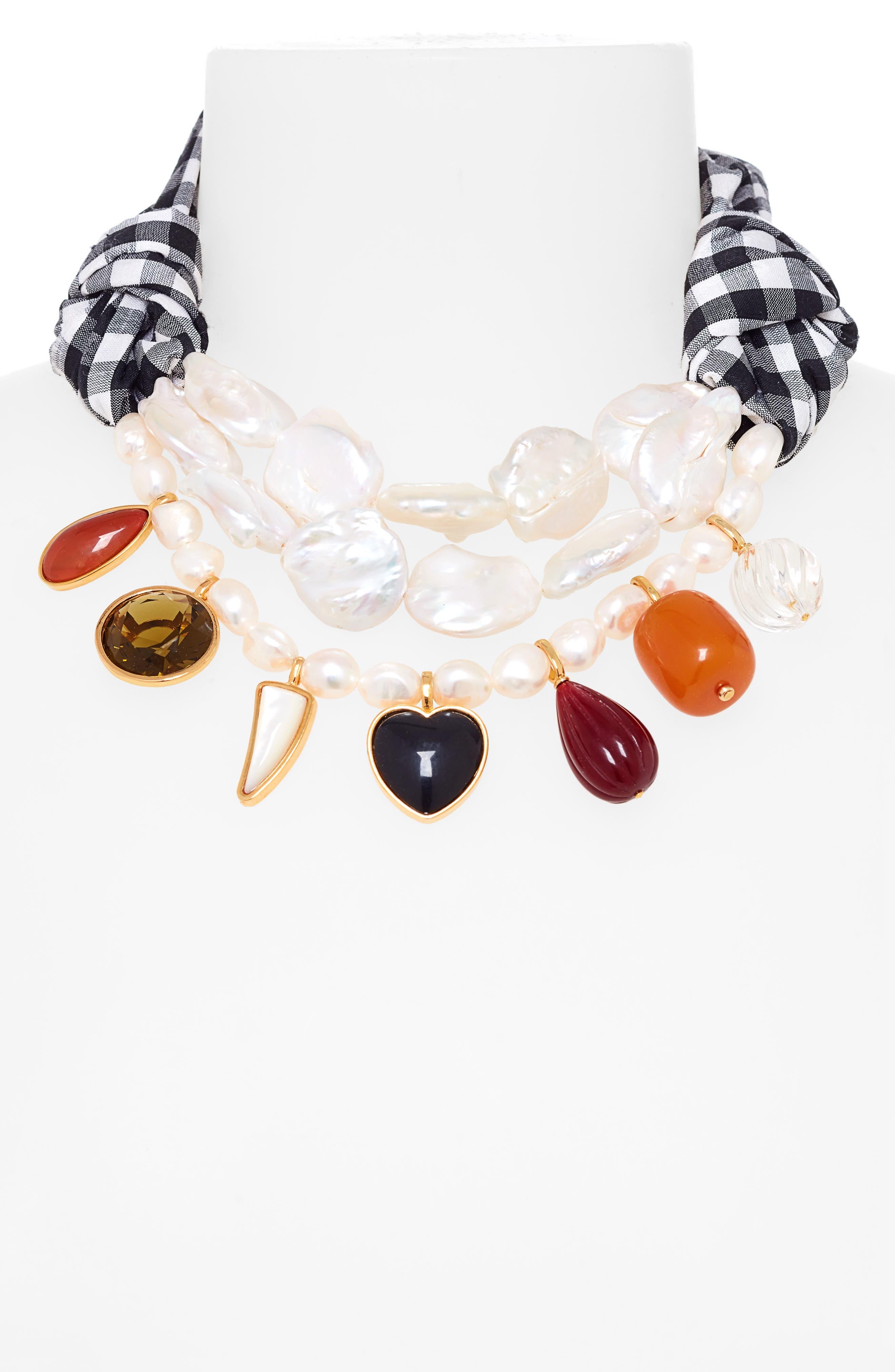 ,                             Lizze Fortunato Carolina Silk Necklace,                             Alternate thumbnail 2, color,                             BLACK AND WHITE GINGHAM
