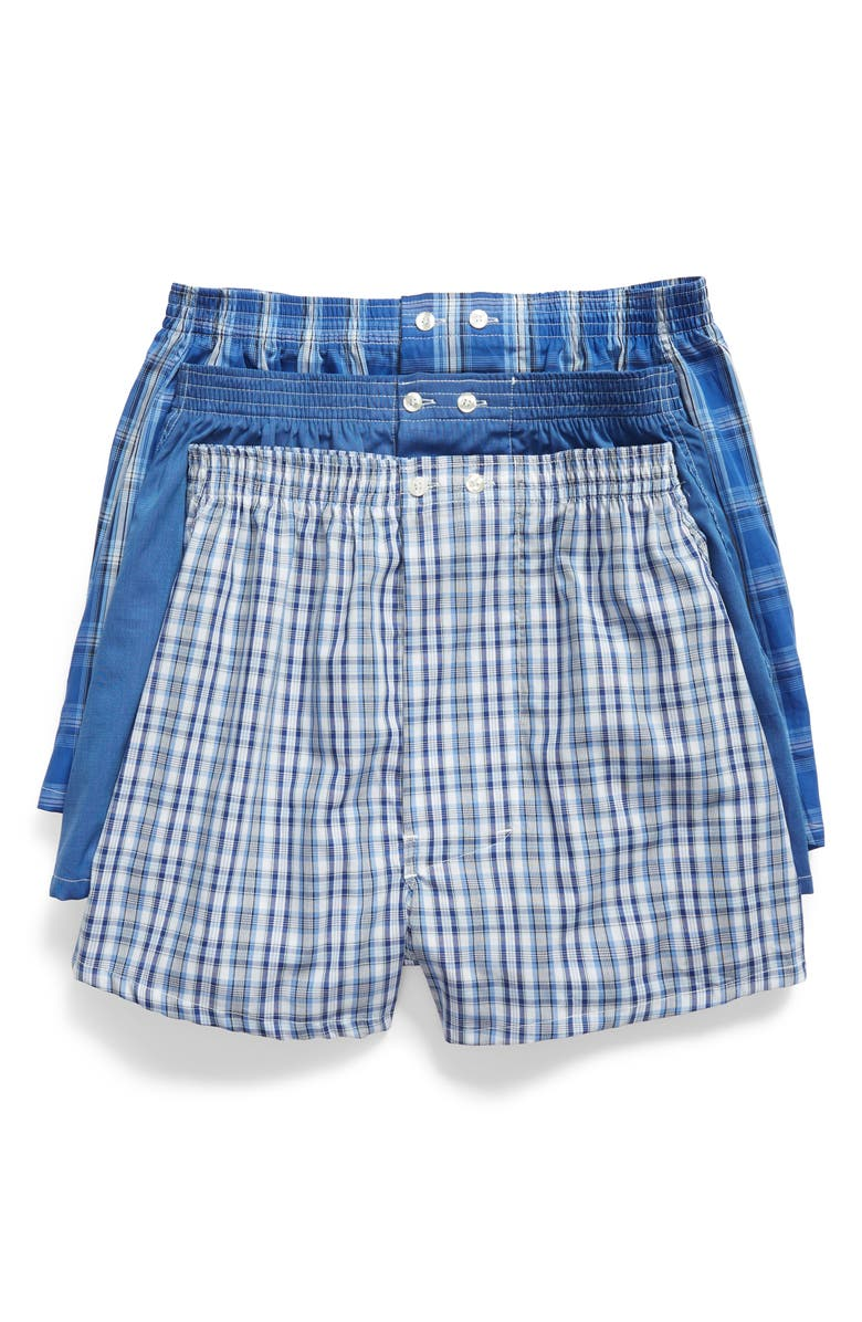 NORDSTROM MEN'S SHOP 3-Pack Classic Fit Boxers, Main, color, BLUE DAZZLE SOLID- PLAID PACK