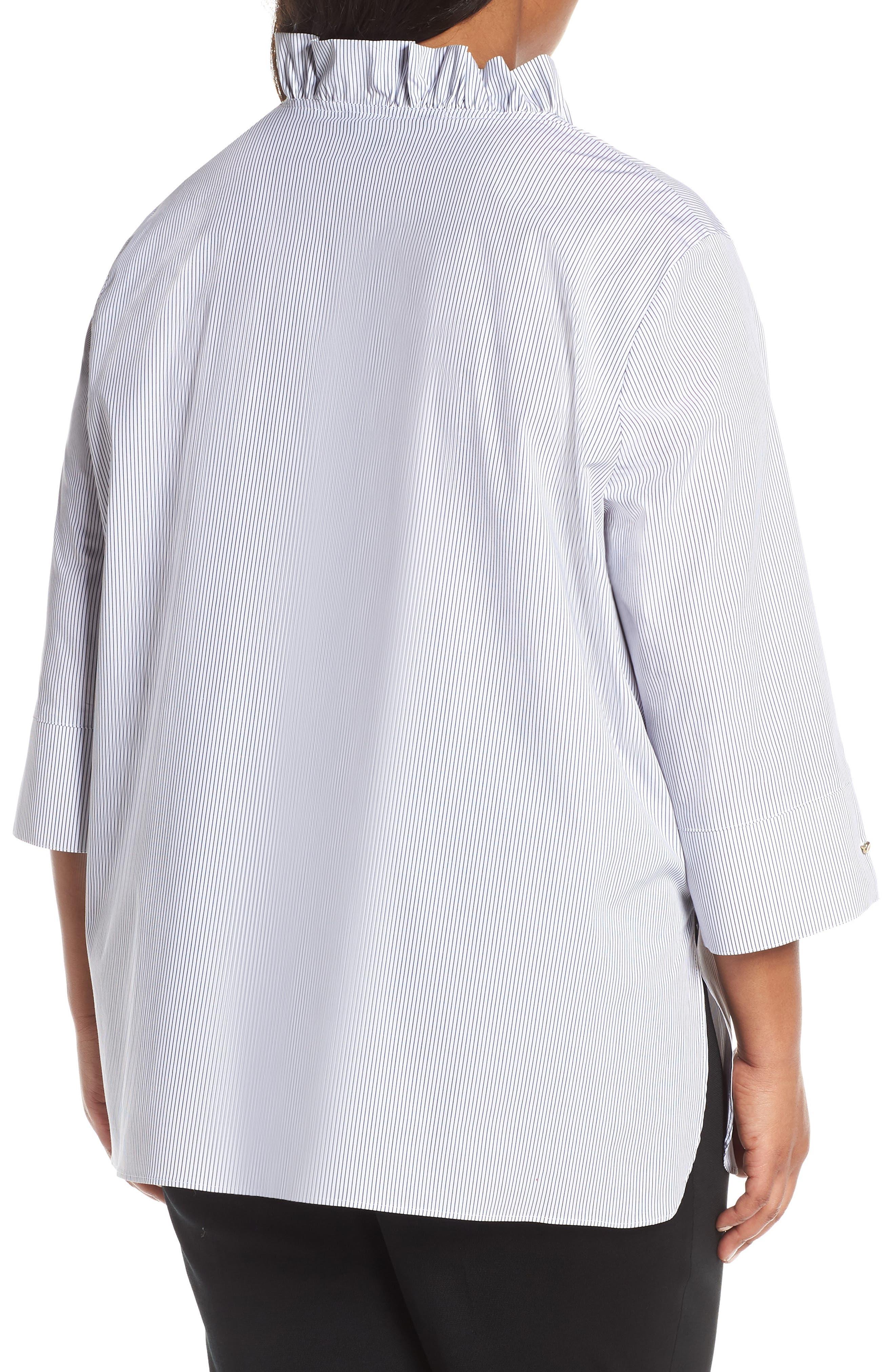 ,                             Ruffle Neck Shirt,                             Alternate thumbnail 2, color,                             BLACK/ WHITE