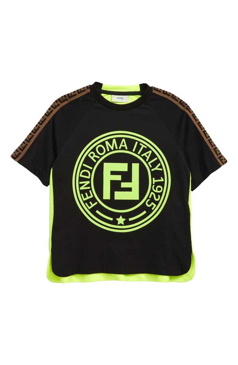 FENDI Neon Logo T-Shirt, Main, color, BLACK