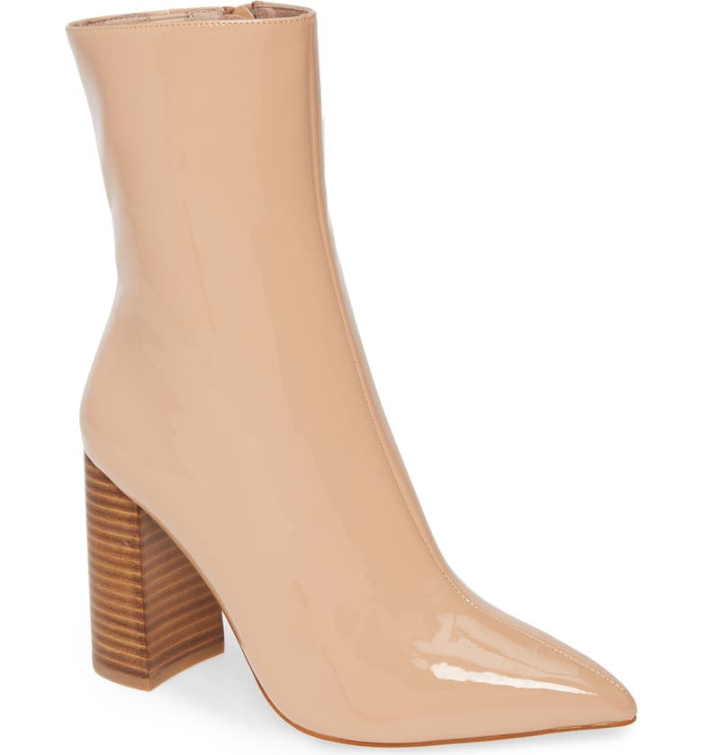 JEFFREY CAMPBELL Siren Pointed Toe Bootie, Main, color, NUDE PATENT