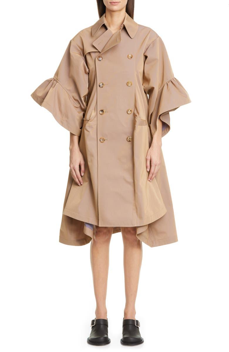 JUNYA WATANABE Ruffle Sleeve Twill Trench Coat, Main, color, 250