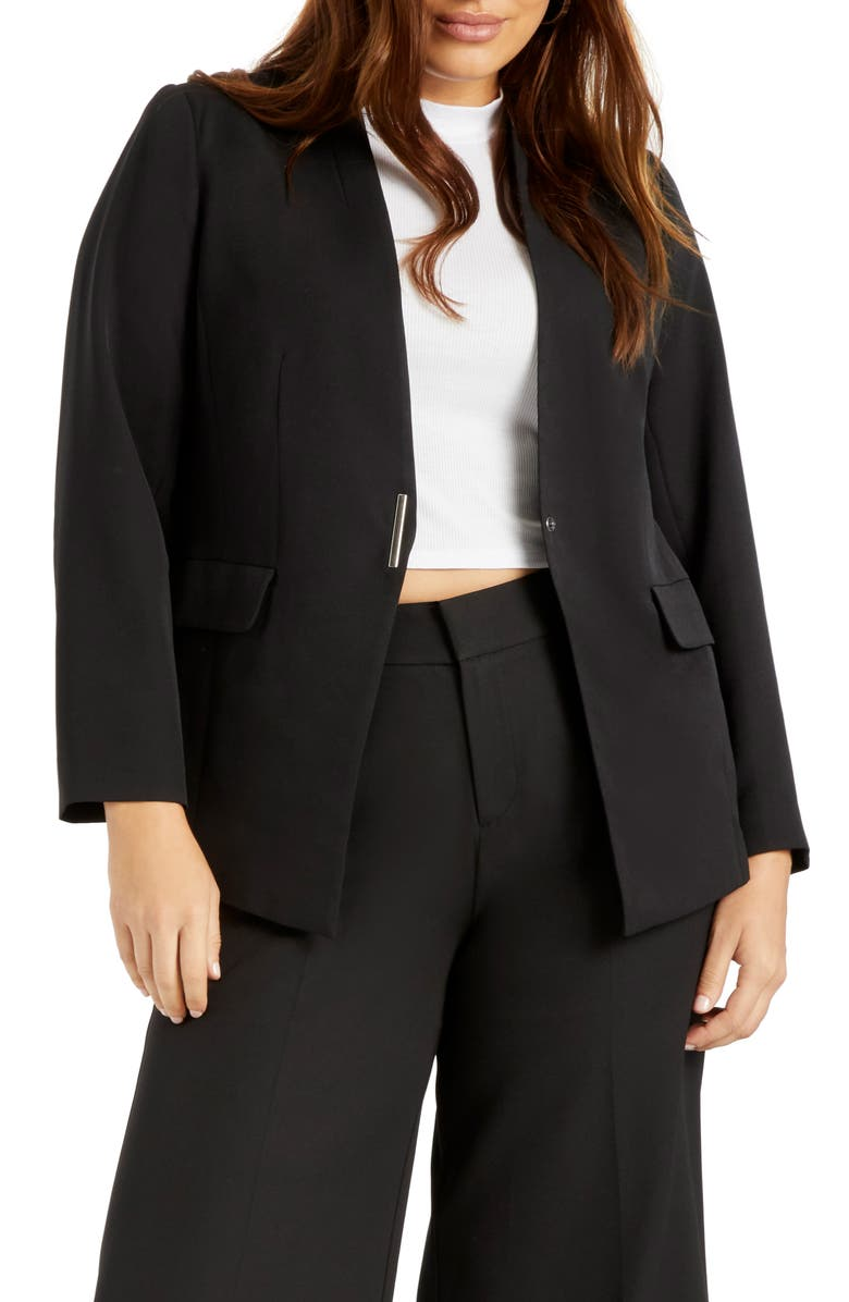 ELOQUII Collarless Blazer, Main, color, BLACK