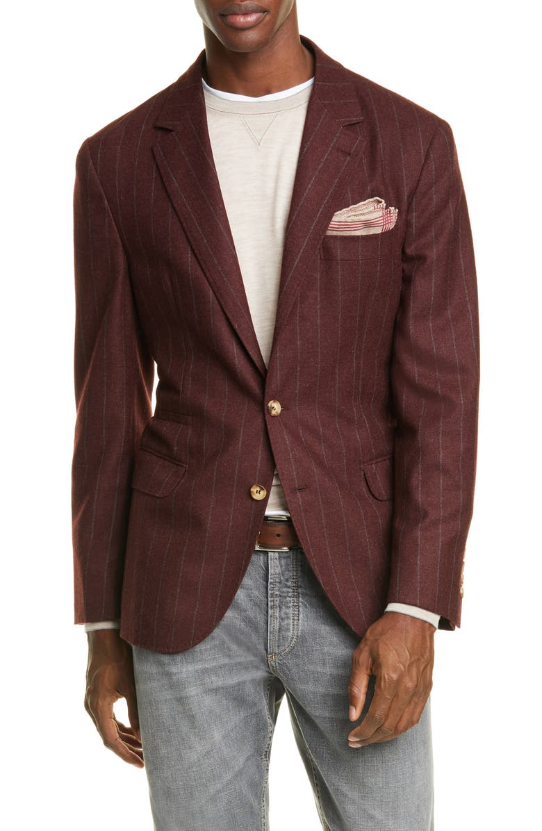 BRUNELLO CUCINELLI Trim Fit Chalk Stripe Wool Blend Sport Coat, Main, color, WINE