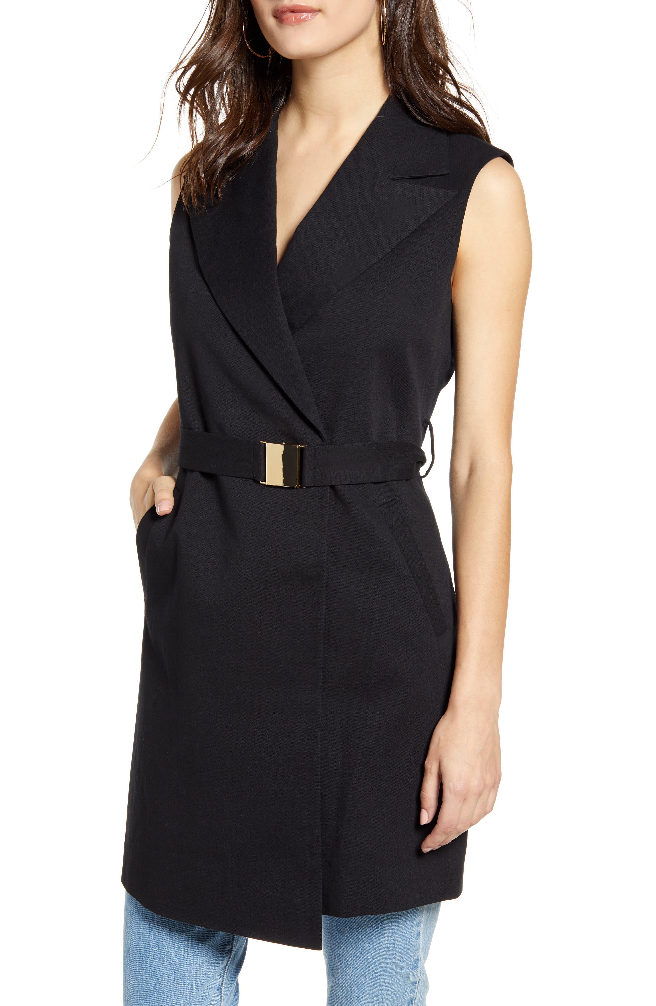 Topshop Belted Sleeveless Blazer Dress, US (fits like 0) - Black