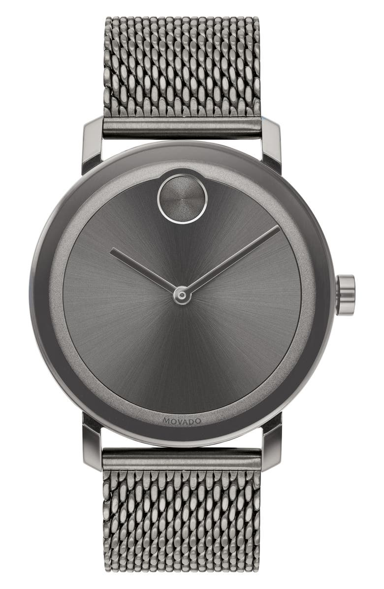 MOVADO Bold Evolution Mesh Bracelet Watch, 40mm, Main, color, GREY