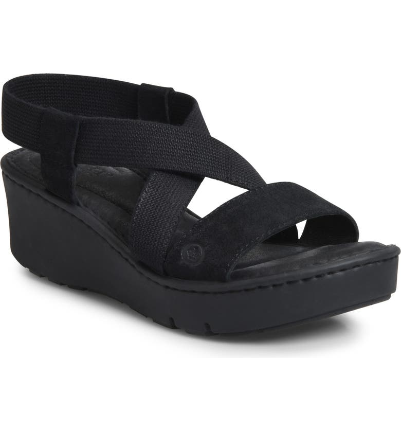 BØRN Park Cross Strap Sandal, Main, color, BLACK LEATHER