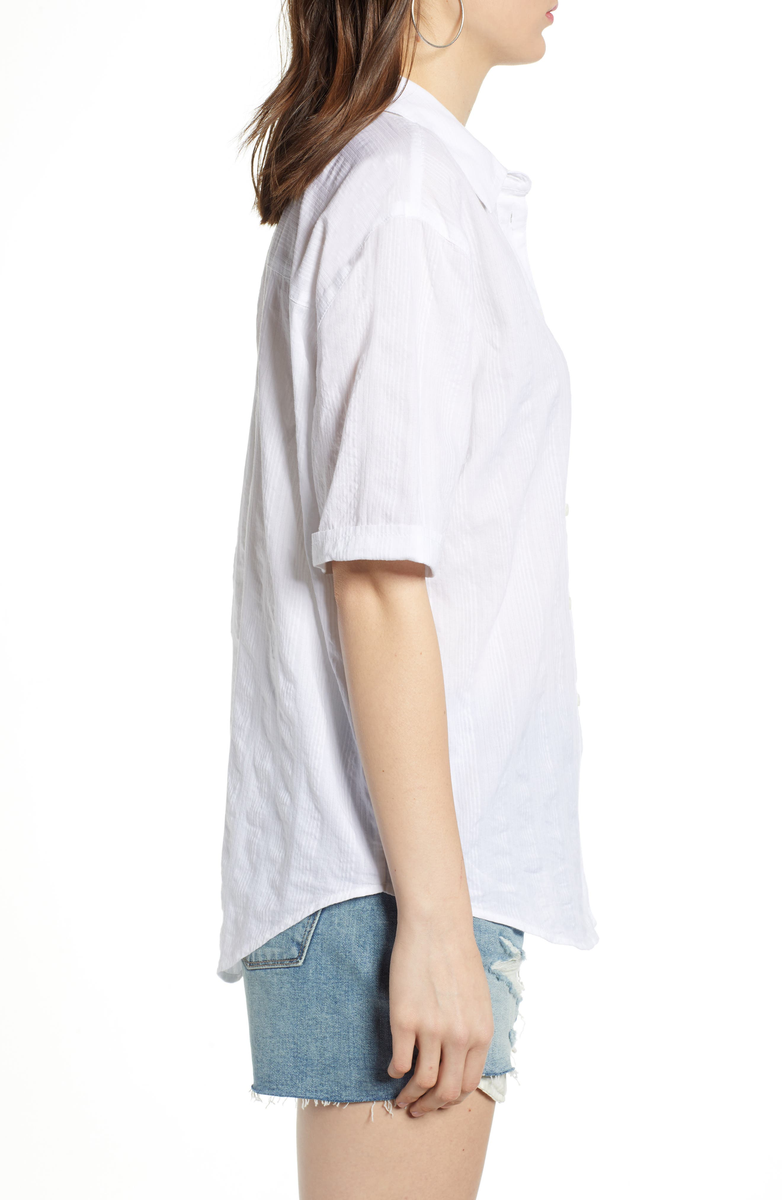 ,                             Stripe Shirt,                             Alternate thumbnail 3, color,                             WHITE SHALLIS STRIPE