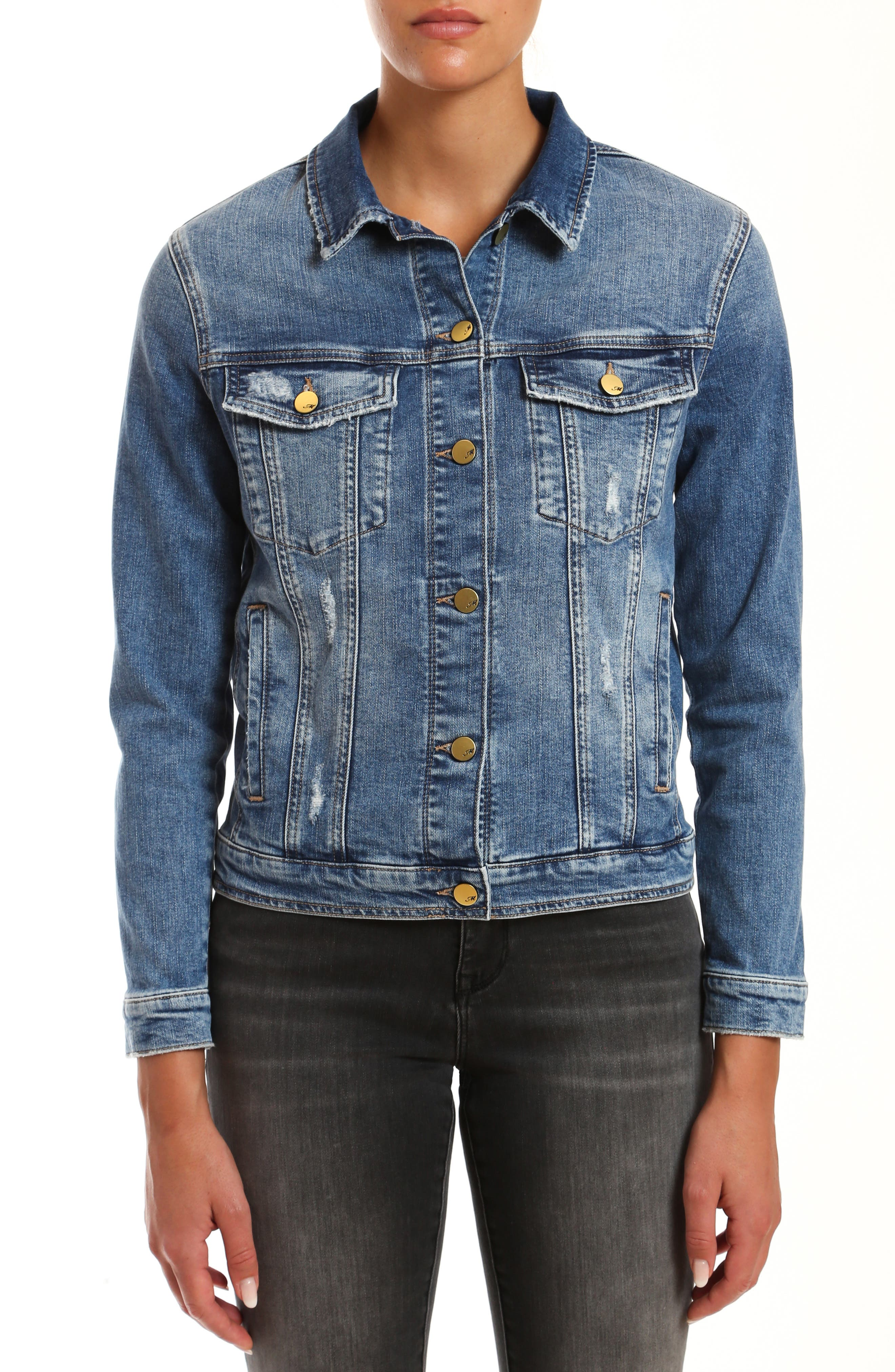 Cut from softly aged stretch denim, an everyday-essential jacket gets trend-right edge from strategic distressing. Style Name: Mavi Jeans Katy Distressed Denim Jacket. Style Number: 5999166. Available in stores.