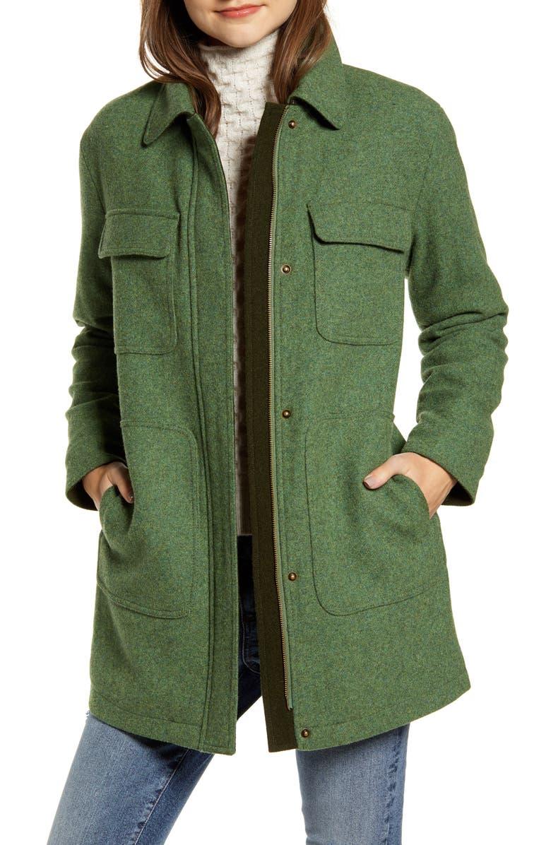 PENDLETON Kit Wool Blend Shirt Jacket, Main, color, MOSS