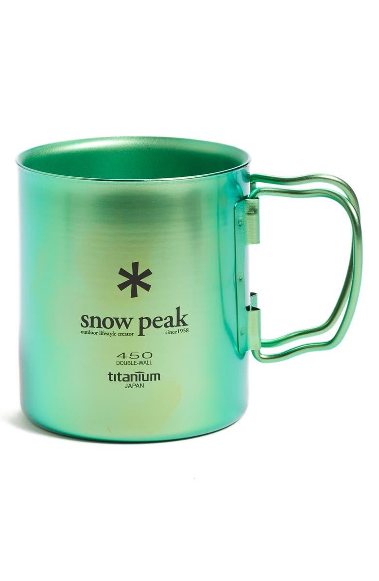 SNOW PEAK 'Ti-Double 450' Insulated Titanium Camping Mug, Main, color, OCEAN GREEN