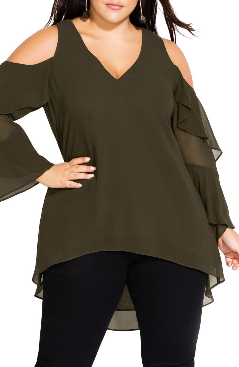 CITY CHIC Cold Shoulder Ruffle Sleeve High/Low Top, Main, color, 311