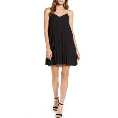 Petite Gibson X Hot Summer Nights Almost Ready Pleated Minidress, Black (Regular & Petite) (Nordstrom Exclusive)