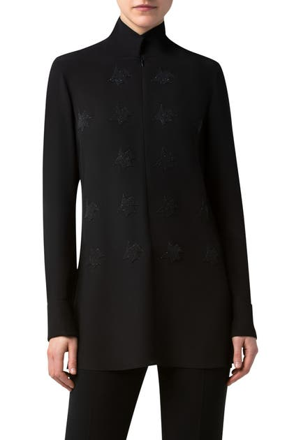 Akris KINDERSTERN EMBELLISHED SILK CREPE TUNIC BLOUSE