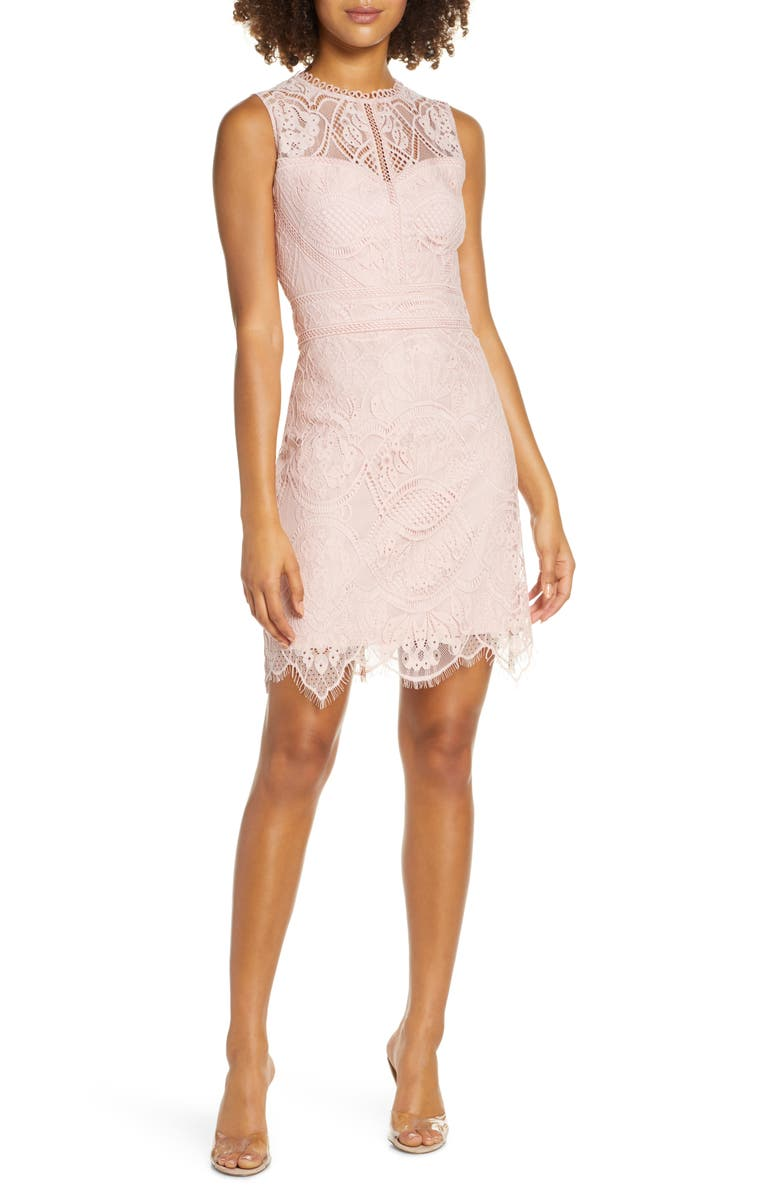 EVER NEW Sleeveless Lace Minidress, Main, color, BLUSHING ROSE