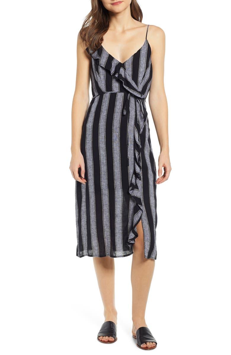 RAILS Ariel Stripe Faux Wrap Dress, Main, color, THOMPSON STRIPE
