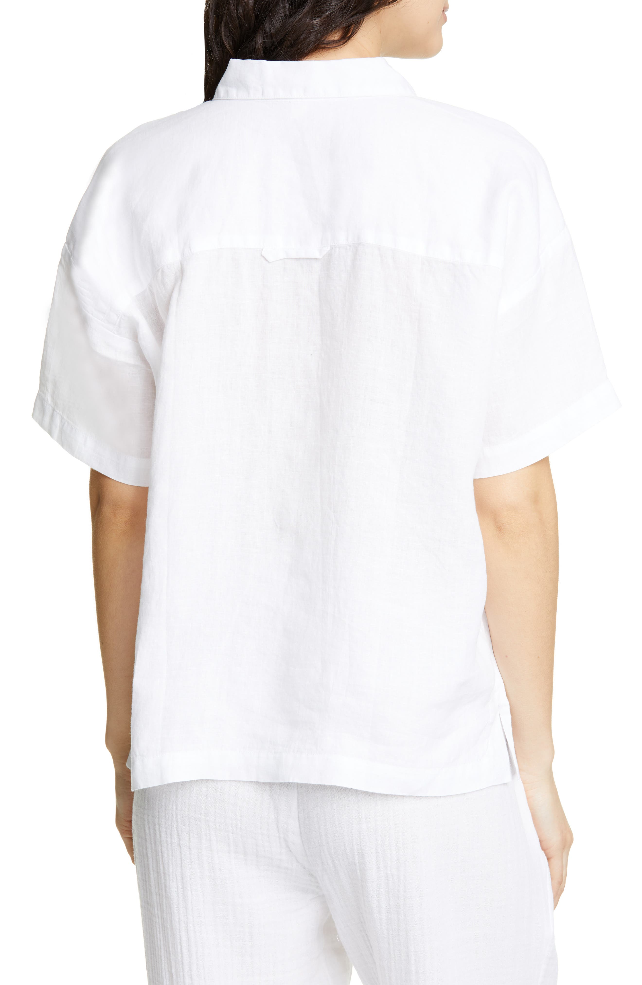 ,                             Organic Linen Shirt,                             Alternate thumbnail 2, color,                             WHITE