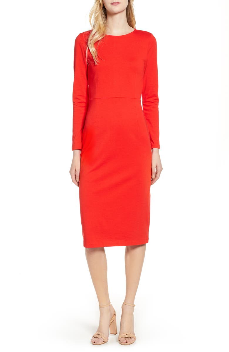 J.CREW Knit Sheath Dress, Main, color, BRIGHT CERISE