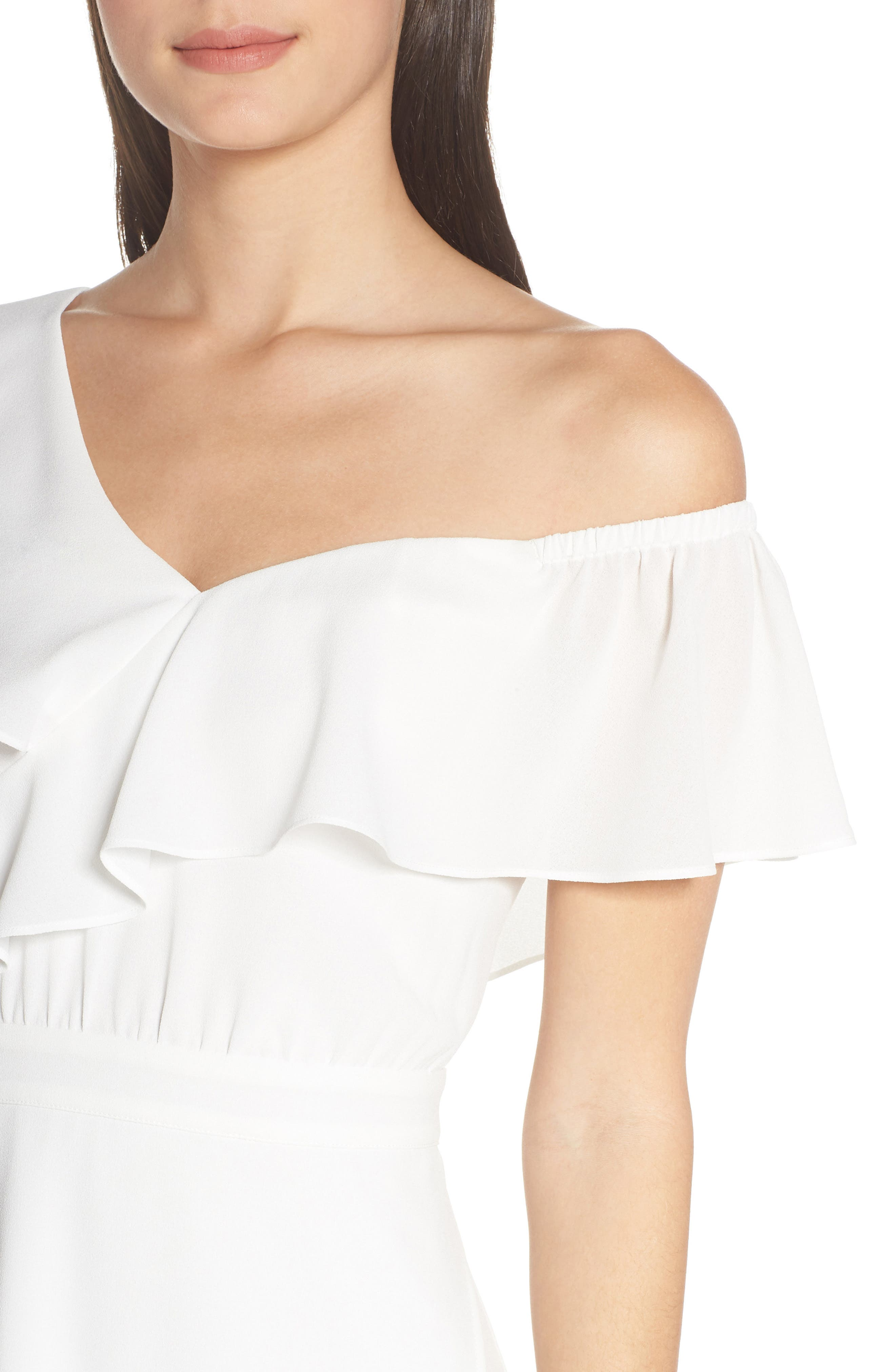 ,                             Day at the Races Chiffon Dress,                             Alternate thumbnail 5, color,                             WHITE