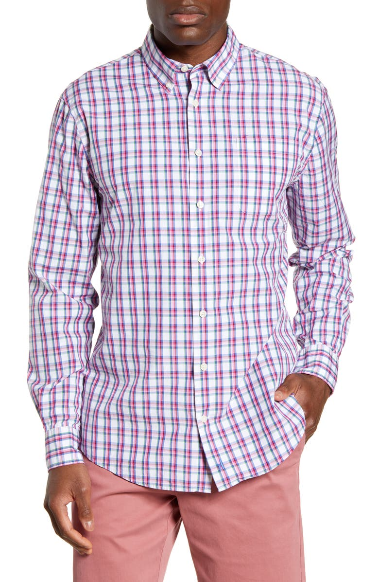 JOHNNIE-O Lionel Classic Fit Plaid Button-Down Shirt, Main, color, 605