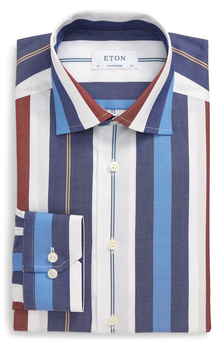 ETON Contemporary Fit Stripe Dress Shirt, Main, color, RED