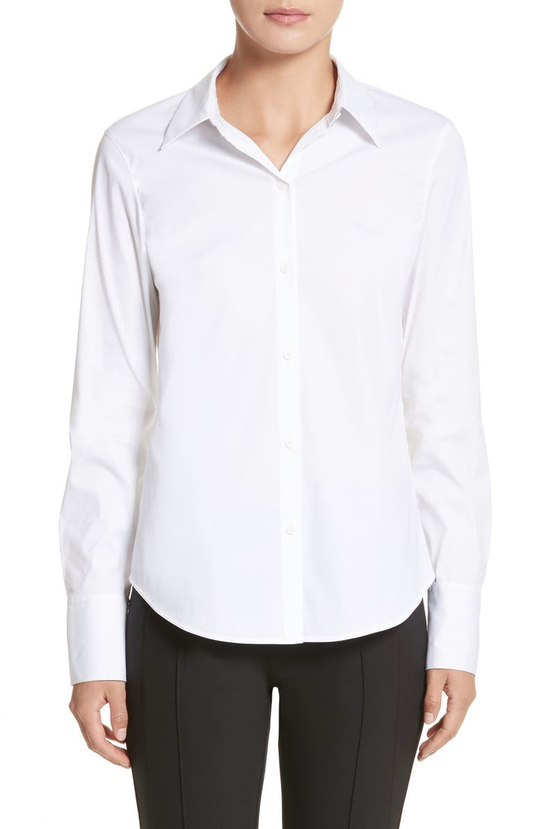 LAFAYETTE 148 NEW YORK Linley Stretch Cotton Blouse, Main, color, WHITE