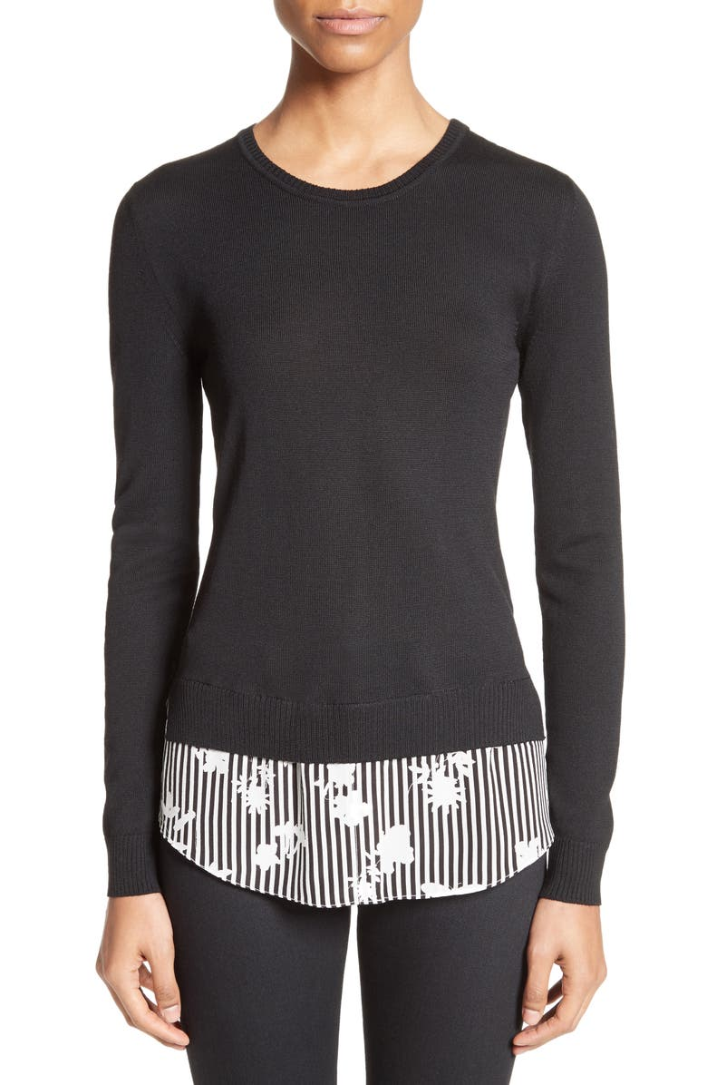 ALTUZARRA Elliot Merino Wool & Silk Shirttail Sweater, Main, color, 001