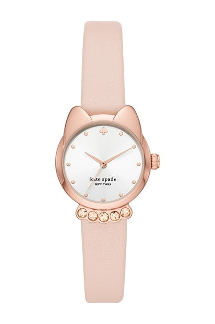 Image of kate spade new york women's three-hand blush leather cat watch, 26mm