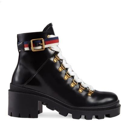 Gucci Trip Lug Sole Combat Boot, Black
