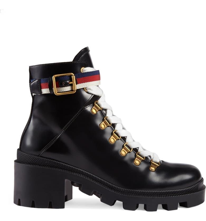 GUCCI Trip Lug Sole Combat Boot, Main, color, BLACK LEATHER