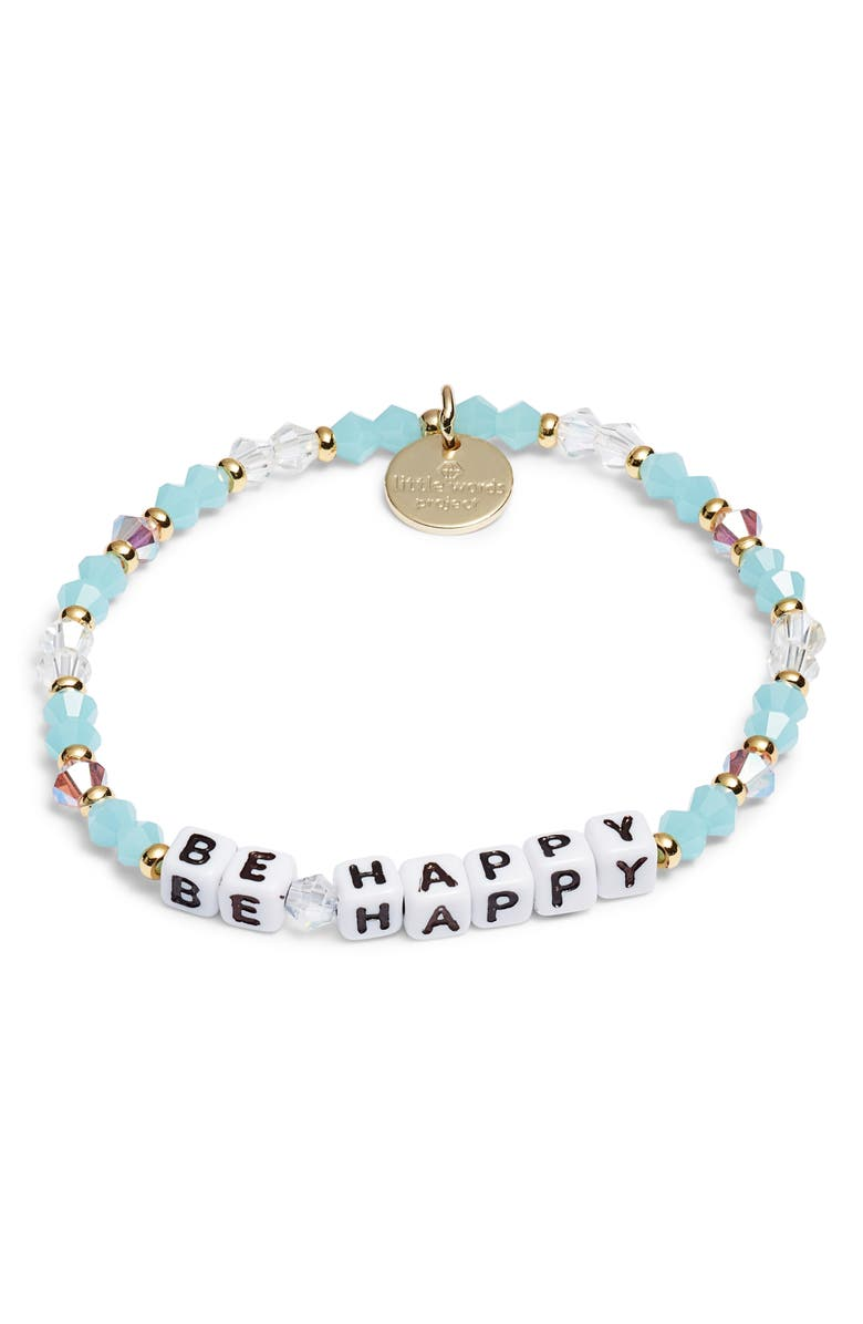 LITTLE WORDS PROJECT Be Happy Beaded Stretch Bracelet, Main, color, DELILAH BLUE/ WHITE