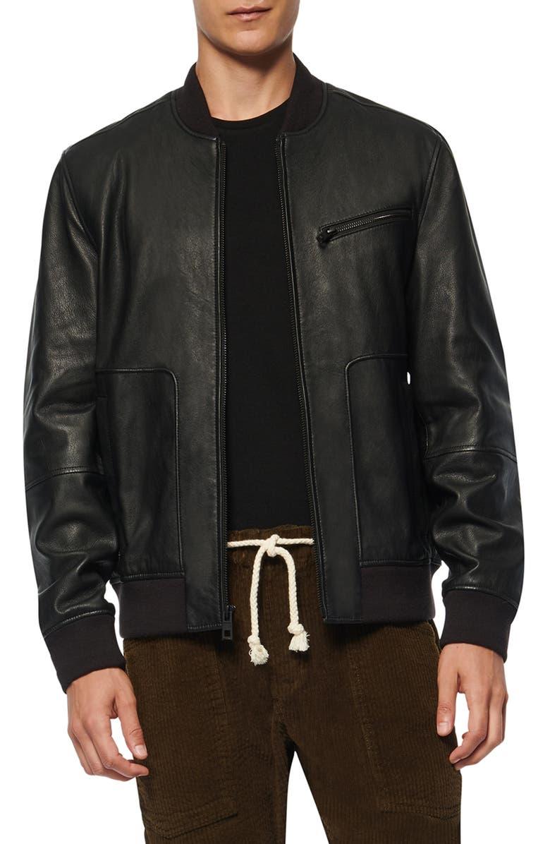 ANDREW MARC Praslin Zenith Lambskin Leather Bomber Jacket, Main, color, BLACK