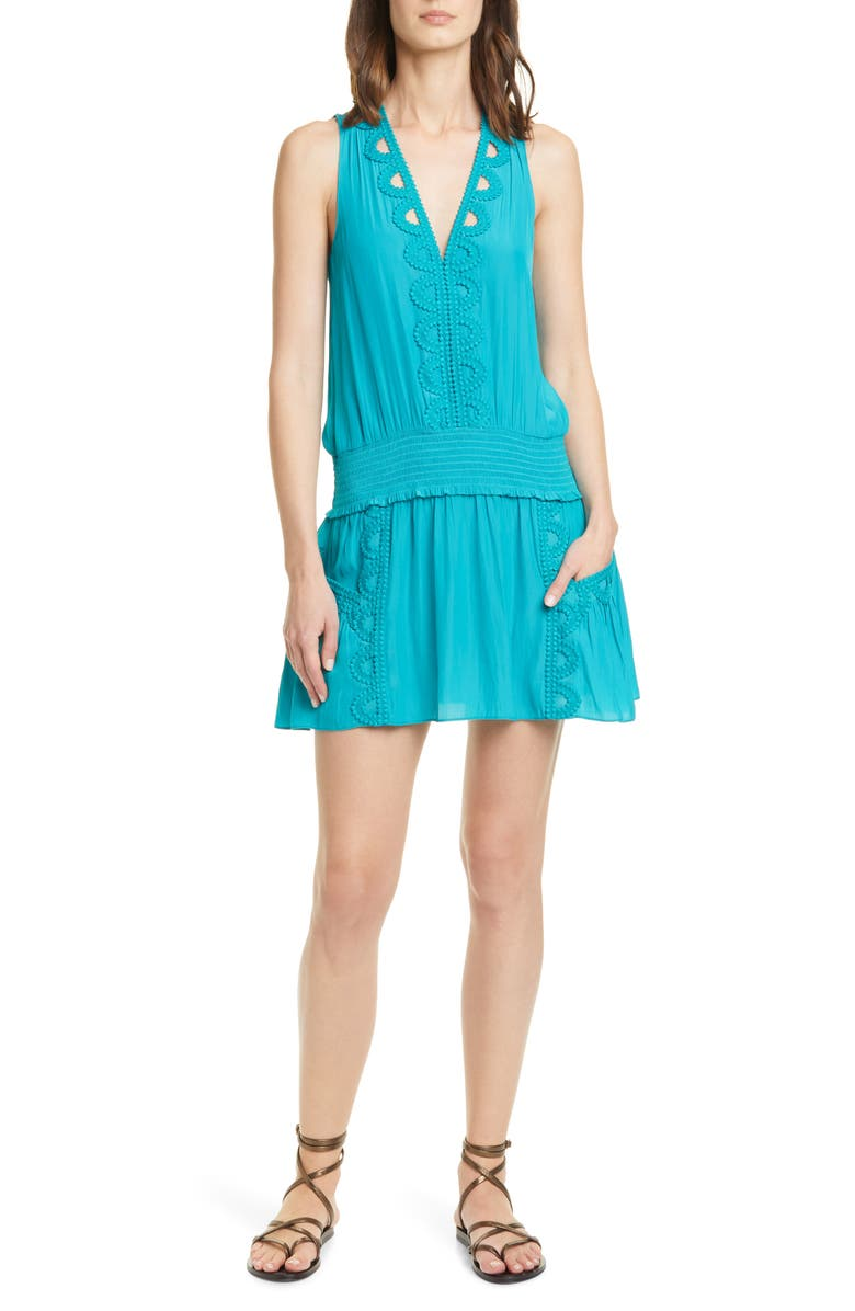 RAMY BROOK Madeline Lace Detail Sleeveless Minidress, Main, color, TEAL