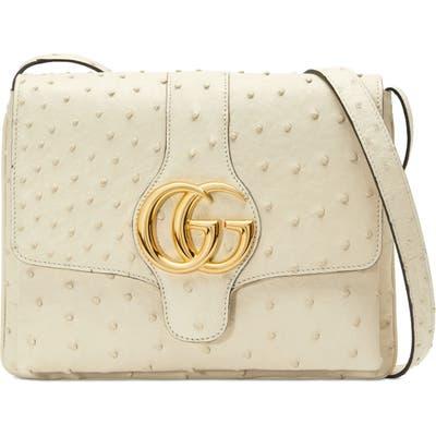Gucci Medium Arli Ostrich Crossbody Bag - Ivory