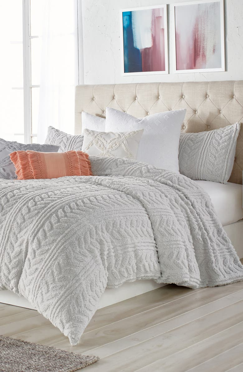 PERI HOME Cable Knit High Pile Fleece Comforter & Sham Set, Main, color, GREY