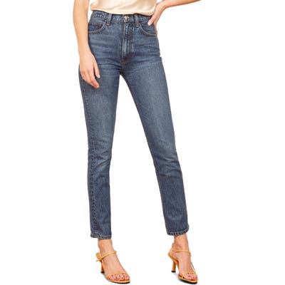 Reformation Stevie Ultra High Waist Cigarette Jeans, 3 - Blue