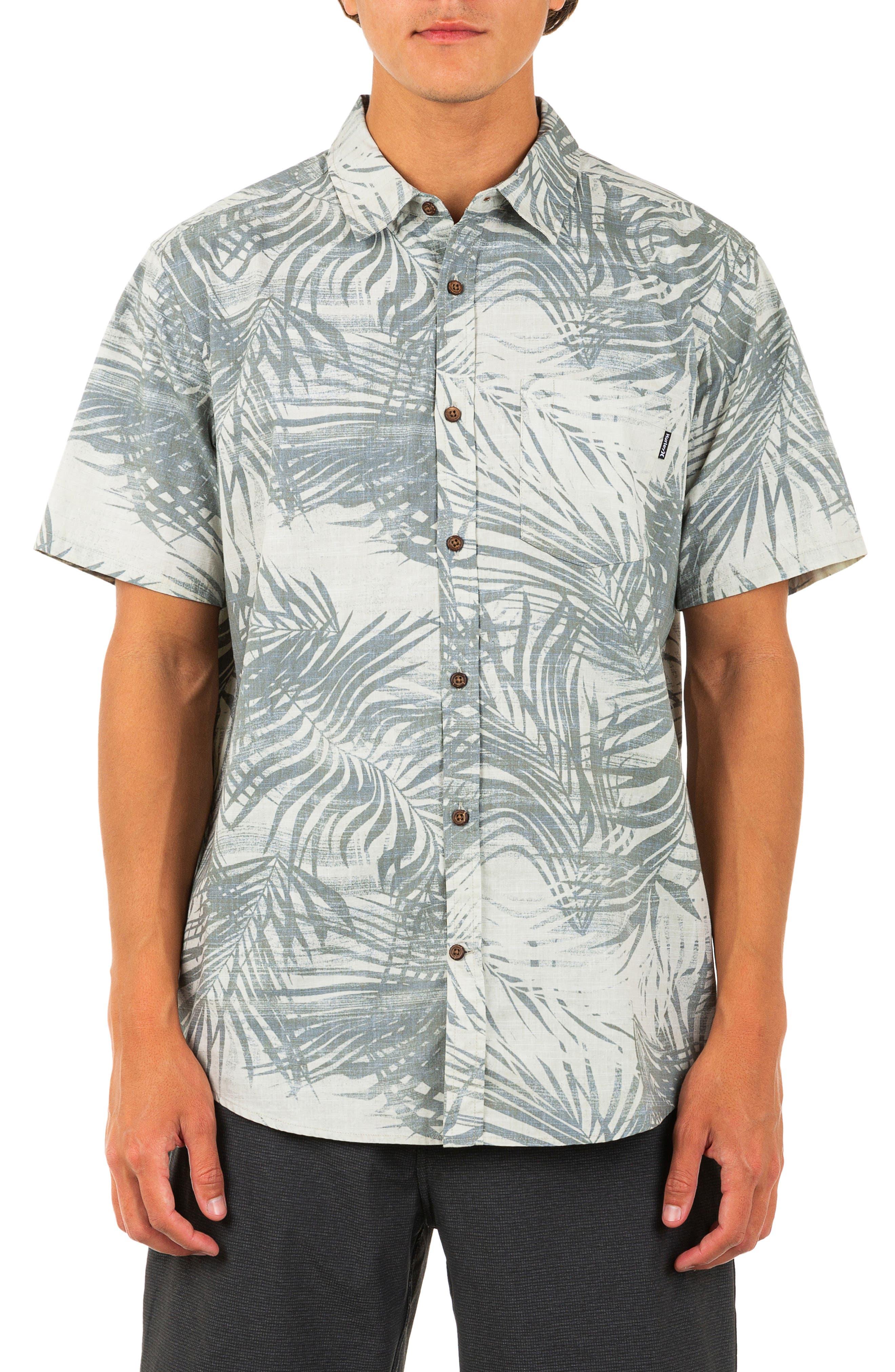 Scan Palm Print Short Sleeve Button-Up Shirt