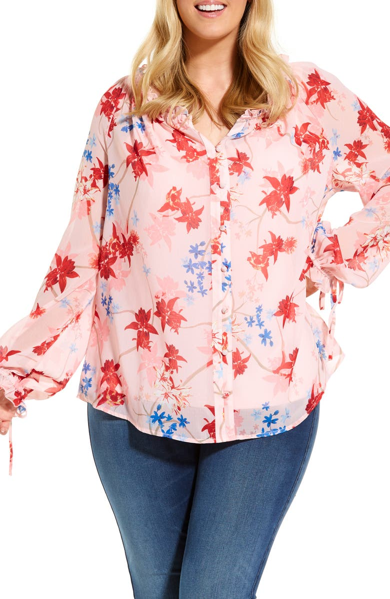 ESTELLE Blush Spring Bloom Long Sleeve Chiffon Blouse, Main, color, PRINT