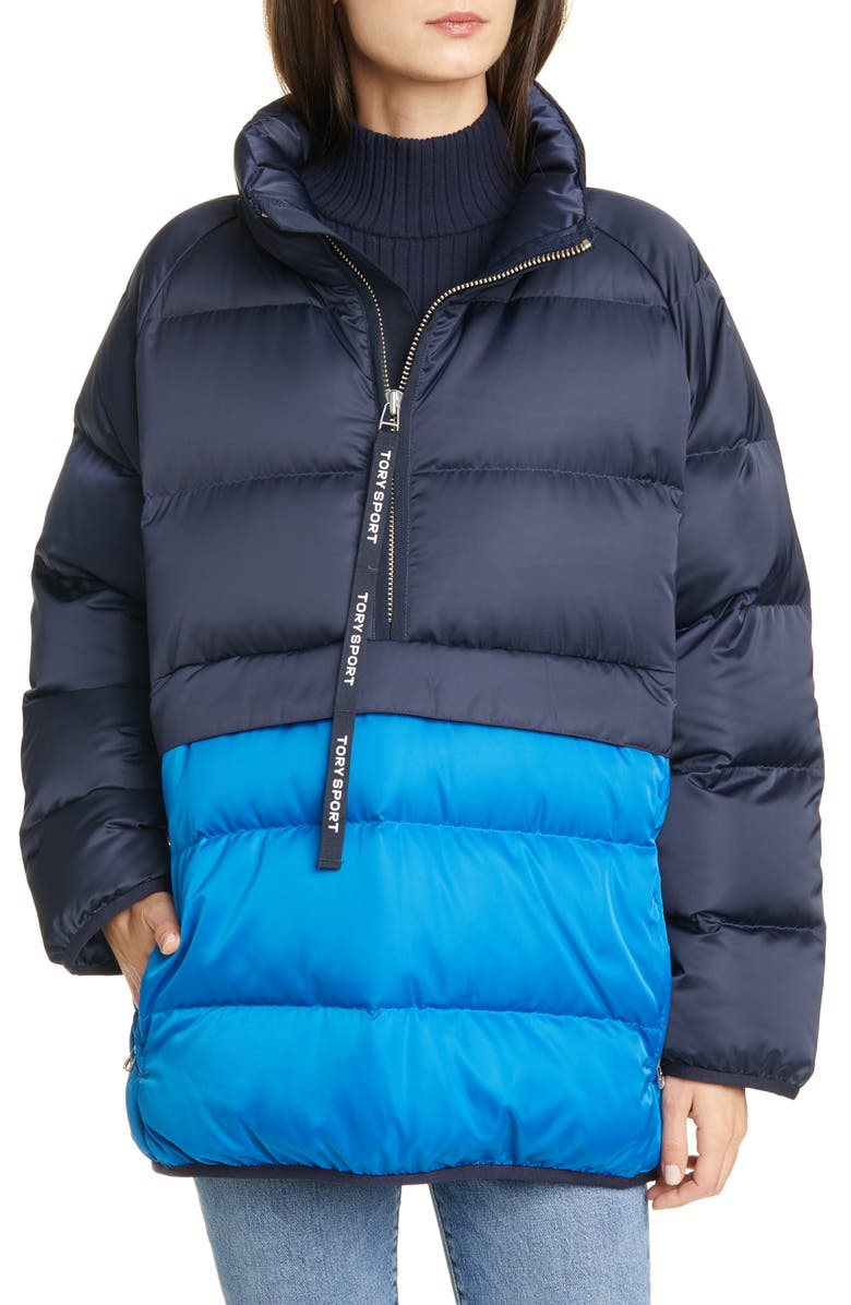 TORY SPORT BY TORY BURCH Tory Sport Water Resistant Performance Satin Packable Down Jacket, Main, color, 429