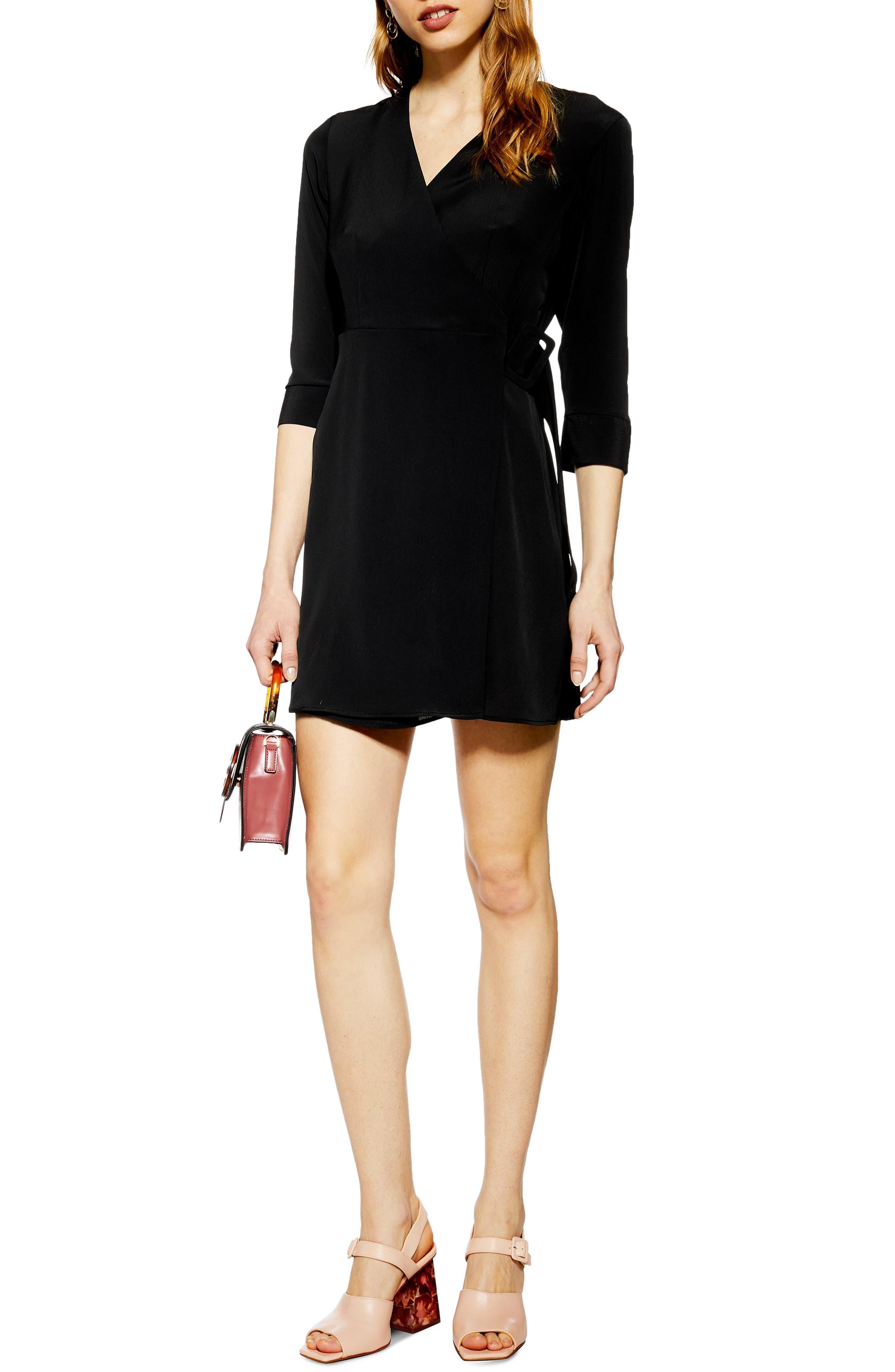 Wrap Minidress, Main, color, BLACK