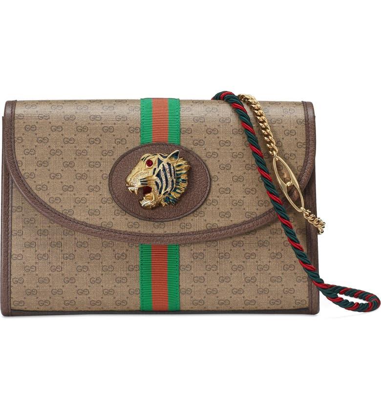 GUCCI Linea Rajah Supreme Canvas Shoulder Bag, Main, color, BEIGE EBONY/ NEW ACERO